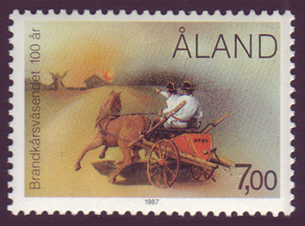 Aland stamp showing horse drawn fire wagon and firefighters