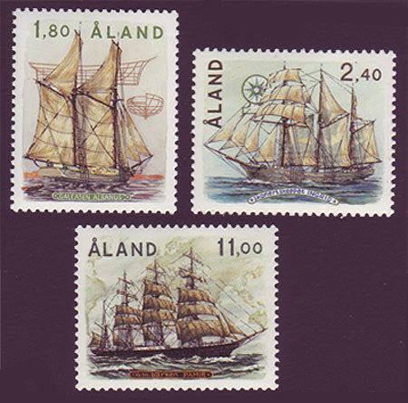 Aland set of 3 stamps showing tall ships