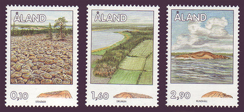 Aland stamps set of 3 showing rock formations.