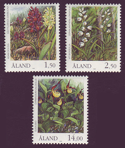 Aland stamps set of three showing orchids