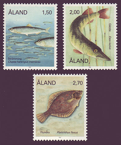 Aland stamps showing 3 species of fish.