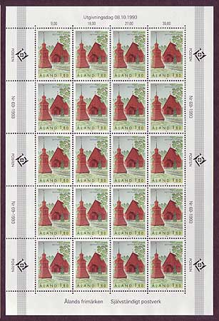 Aland sheet of 20 stamps showing Sottunga Church