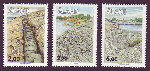 Aland set of 3 stamps showing rock formations.