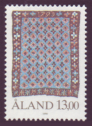 Aland stamp showing old tapestry.