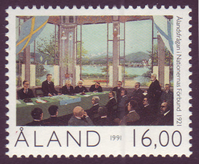 Aland stamp showing politicians debating the future of Aland.