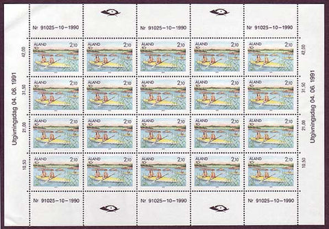Aland sheet of 20 stamps showing boy and girl kayaking.