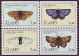 Set of 4 stamps from Aland showing butterflies in colour.