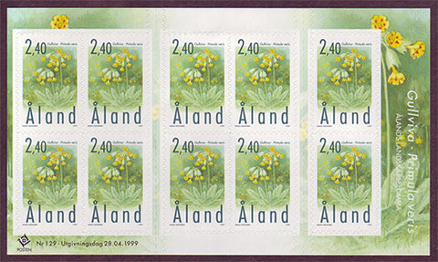 Alands booklet pane of 10 stamps showing Cowslips