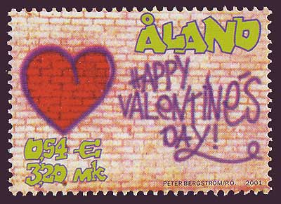 Aland stamp shows St. Valentine's graffiti on brick wall