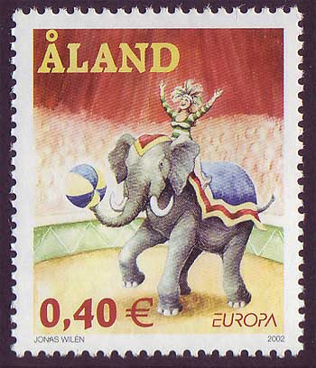 Aland stamp showing Circus ring with elephant and rider.