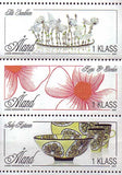 Aland set of 3 stamps showing contemporary crafts, glassware, etc.