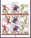 Aland stamps set of 3 showing comic book superheroes.