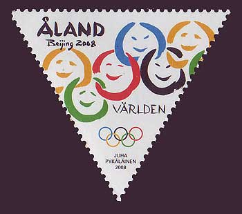 Aland stamp showing Olympic rings with smiling faces