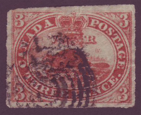"Copy of CA0004d5 Canada  ""pence"" issue 1852, 3p Beaver # 4d on thin paper"
