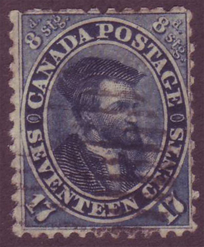 CA0019.15 Canada  Jacques Cartier 12½ct blue 1859