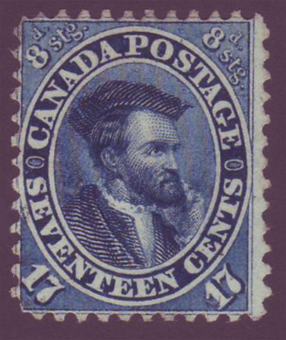 CA00192PE Canada      Jacques Cartier 17ct blue 1859  MH OG