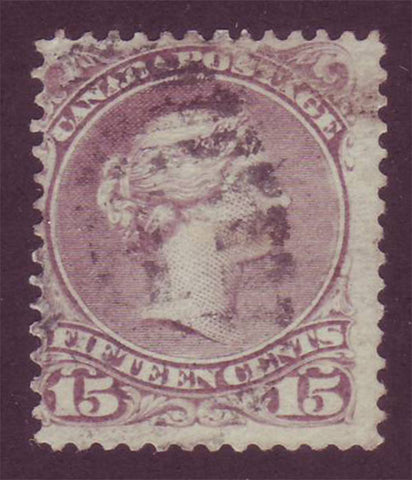 CA0029b5 Canada Large Queen #29b red lilac. VG Used 1868