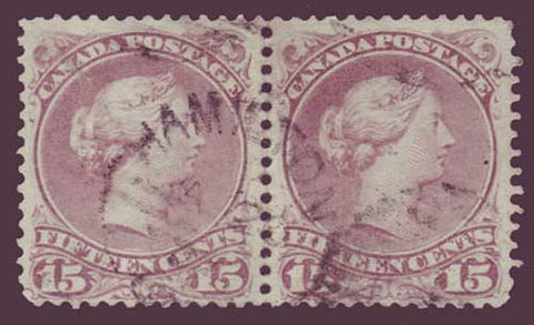 CA0029bx25 Canada Large Queen 15ct red lilac pair 1868