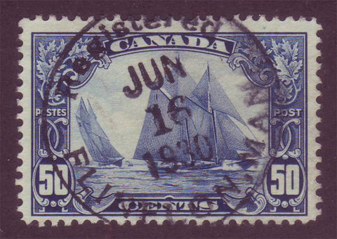 CA01585 Canada #158 - 50¢ Bluenose VF.  Exquisite CDS Cancel.