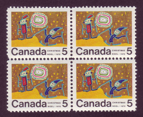 CA0522i Canada # 522i Center Block of 4 MNH** Christmas 1970
