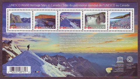 Canada souvenir sheet containing 5 stamps showing Canadian UNESCO sites.