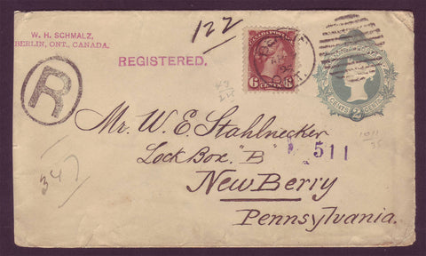 CA5006 Canada PS Envelope Upgraded to the USA - 1896