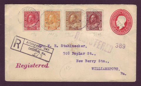 CA5013 Canada 4-Color PS Envelope, Registered and Upgraded to USA - 1925