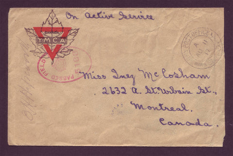 CA5018 Canada WWI Military Censored Field Post letter - 1917
