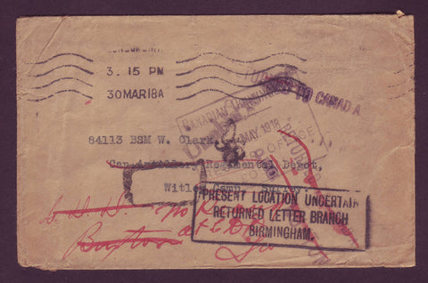 CA5019 Canada WWI Soldier Mail ''Location Uncertain - Returned to Canada'' 1918