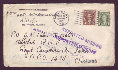 "CA5020 Canada Wartime Letter Marked ""Reported Missing"" - 1942"