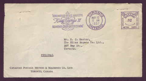 CA5021 Canada Souvenir Cover (front) - Metered Mail 1937.  Rare!