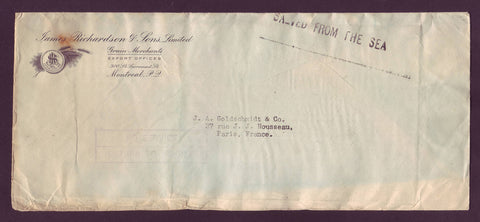 CA5022 Canada, Salvaged Letter From Atlantic Ship Wreck