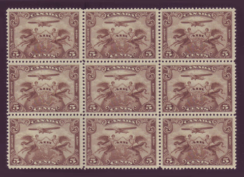 CAC01x91 Canada # C1 F-VF MNH** block of 9, First Airmail Stamp 1928