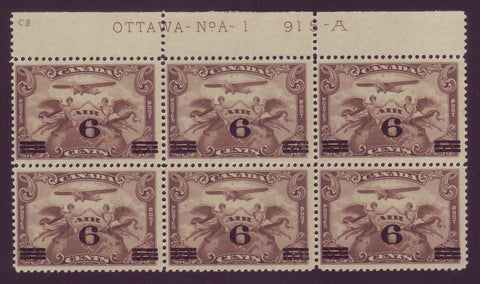 CAC03x61 Canada # C3 F MNH** plate block of 6, Air Mail Stamp 1932