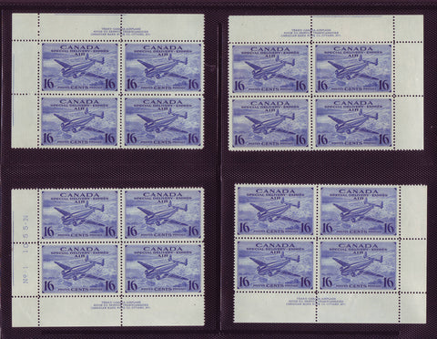 CACE1x16 Canada # CE1 Corner Block Set MNH, Special Delivery 1942