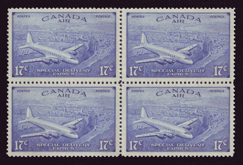 CACE4 Canada # CE4 block of 4, VF MNH, Special Delivery Stamp 1946