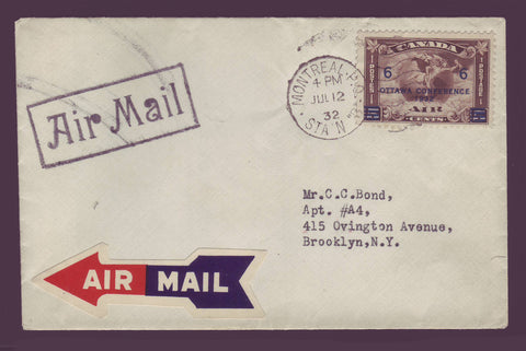 Canada First Day Cover with Air Mail stamp and labels from 1932