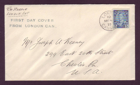 Canada FDC Scott # 214.04 - 5¢ Prince of Wales, 1935 (London ON)