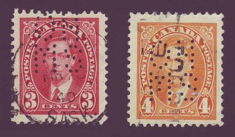CAOA233-34 Canada George VI Official 5-Hole Used Duo 1937