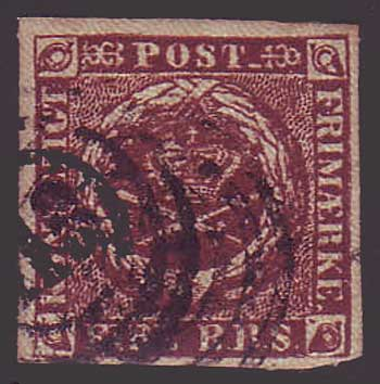 DE0002a.25 Denmark Scott # 2a VF (first printing 1851)