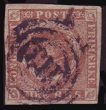 DE0002b.25 Denmark Scott # 2b VF (yellow brown 1851)