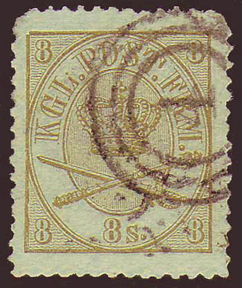 DE00145 Denmark Scott # 14 VF - 1868