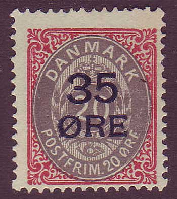 DE00802 Denmark Scott # 80 F MH. 35o overprint on 20o - 1912