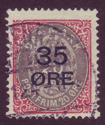 DE00805 Denmark Scott # 80 F Used.  35o overprint on 20o - 1912