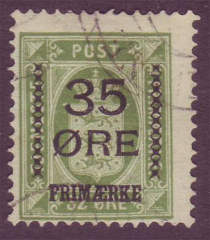 DE00815 Denmark Scott # 81 F U.  35o overprint on 32o - 1912