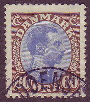 DE0123a5 Denmark Scott # 123a VF used. Brown and Ultra