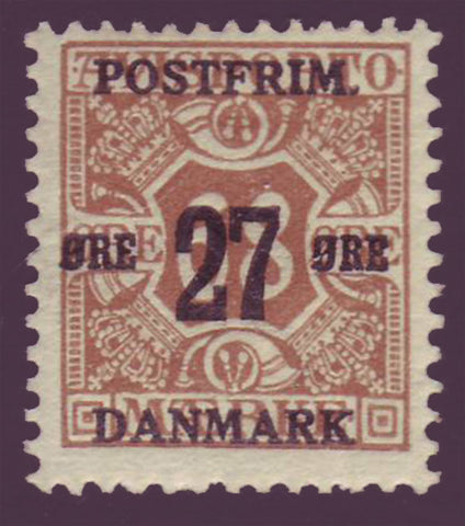 DE01422 Denmark Scott # 142 F-VF MNH**. Surcharged Newspaper Stamp 1918