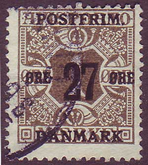 DE01455 Denmark Scott # 145 F Used, Surcharged Newspaper Stamp 1918