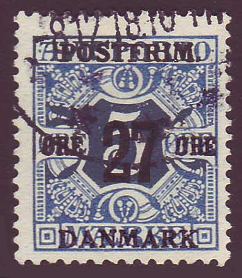 DE01465 Denmark Scott # 146 F-VF Used. Surcharged Newspaper Stamp 1918
