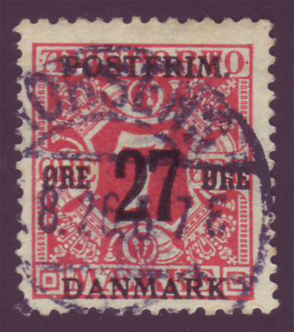 DE01475 Denmark Scott # 147 F-VF Used. Surcharged Newspaper Stamp 1918